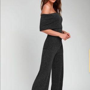 Lulus Bardot Shoulder Grey Ribbed Jumpsuit